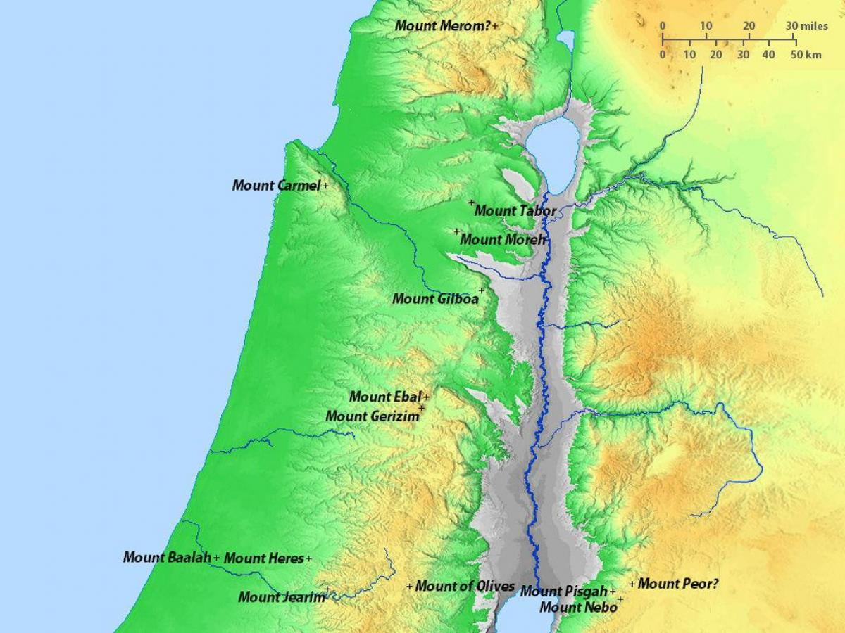 map of israel mountains