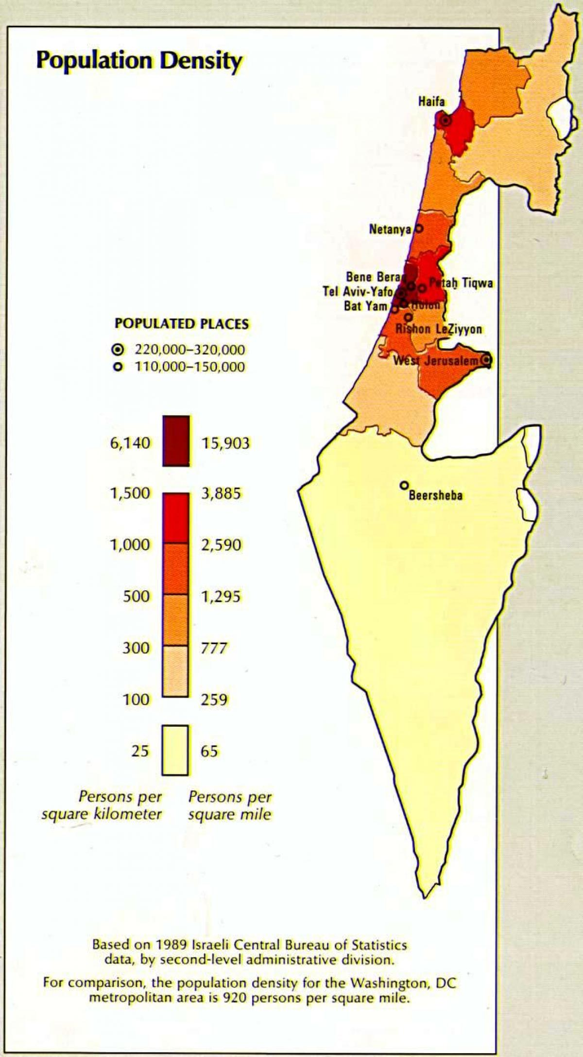map of israel population