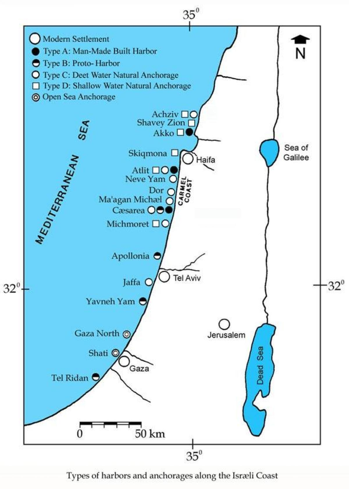 map of israel ports