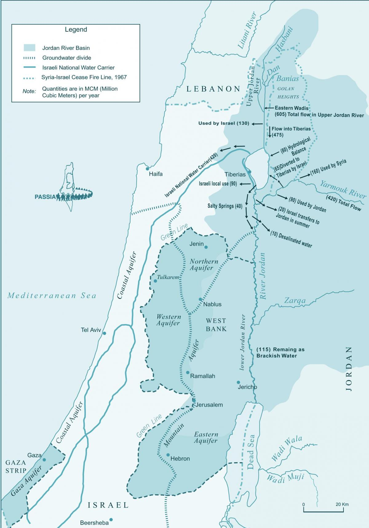 map of israel river