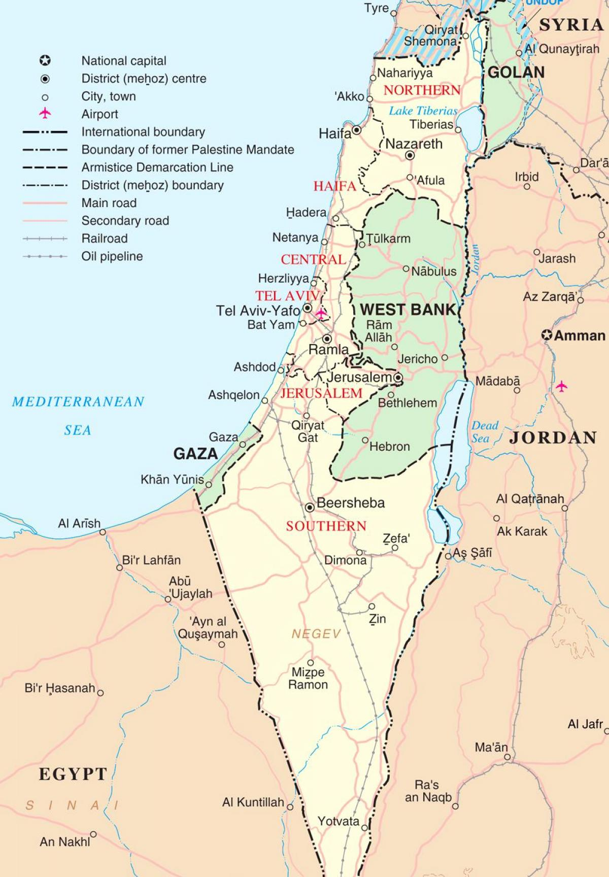 map of israel tourist