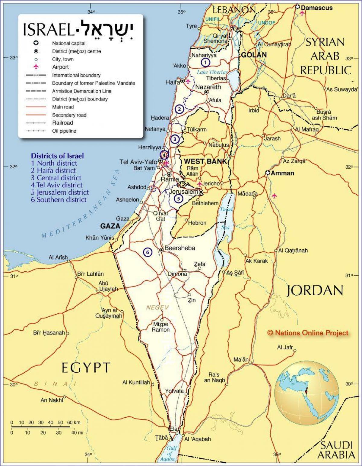 Map of israel - Israel regions map (Western Asia - Asia)
